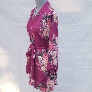 Floral Print Mauve & Pink Rose Bath Robe
